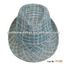 2014 Fashion Mens Checked Paper Trilby Hat felt fedora hats for wholesale