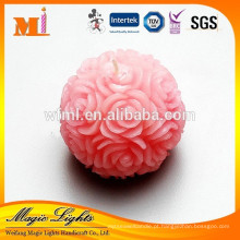 Vela de bola rosa redonda delicada para casamento