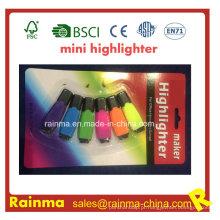 Mini marca-texto 6 cores no marcador de embalagem de blister