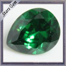 Zirconia cúbica verde esmeralda de la forma de la pera para la joyería de la CZ
