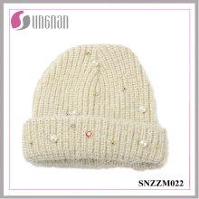 La mejor calidad hecha punto dulce Pearl Diamante Wool Yarn Cap