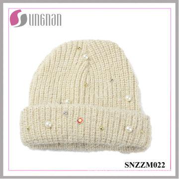 2016 Best Quality Knitted Sweet Pearl Diamante Wool Yarn Cap