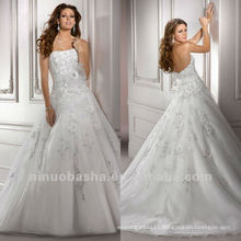 Fabulous Sequin Organza Flower Sash Strapless Applique Ball Gown Chapel Train Wedding Dresses Bridal Gowns