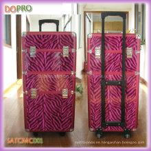Color rosa de la cebra patrones de peluquería belleza casos PU maquillaje caso de la carretilla (satccm001)