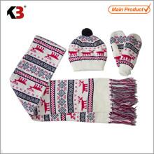 2015 Christmas knitting cashmere hats,scarves & gloves sets