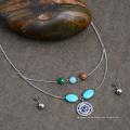 African Custome Evil Eye Perlen Türkis Ethnische Halskette Schmuck-Set