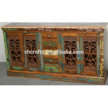 recycled wooden sideboard with old cast iron grill