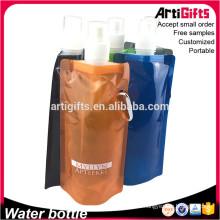Botella de agua plegable barata plana de las botellas del viaje de China