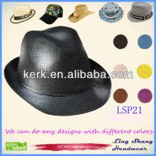 Модная черная шляпа с фабричной ценой на 2013 год, 100% бумажная соломенная тканевая шляпа, LSP21