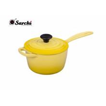 Amazon Hot 2.5 Cuarto de hierro fundido de esmalte de salsa Pan Olla cubierto Sauce Pot