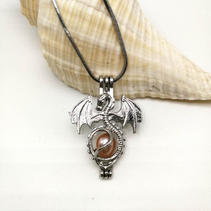 Pterosaurs Locket Necklace Dragão Bead Pearl Cage Chain