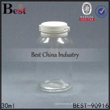 transparent 30 ml medizinische Glasflasche, 1oz Klarglas Sauce Kapsel Pille Flasche abreißen Kappe, 1-2 kostenlose Proben