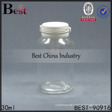 transparent 30ml medical glass bottle, 1oz clear glass sauce capsule pill bottle tear off cap, 1-2 free samples