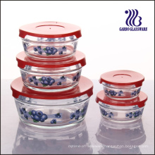 5PCS Different Color Lid Glass Bowl Set with Decals (GB1402-TH)