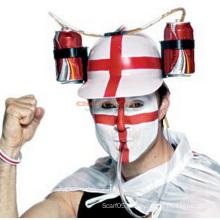 Custom Red Cross Helmet Drinking Hat with Drinking Straw for St Patrik′s Beer Holiday