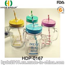 BPA frei angepasst doppelwandig Kunststoff Becher mit Strohhalm (HDP-0167)