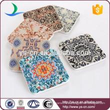 Estera de cerámica cuadrada de la taza de la etiqueta promocional al por mayor