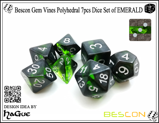 Bescon Gem Vines Polyhedral 7pcs Dice Set of EMERALD-3