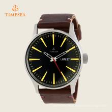 Mens Black Dial relógio de quartzo com pulseira de couro 72280