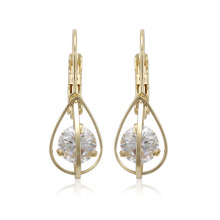 96128 xuping best selling 14k gold color synthetic zircon fashion ladies drop earrings