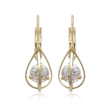 96128 xuping meilleure vente dames de mode zircon synthétiques couleur or 14k drop boucles d'oreilles