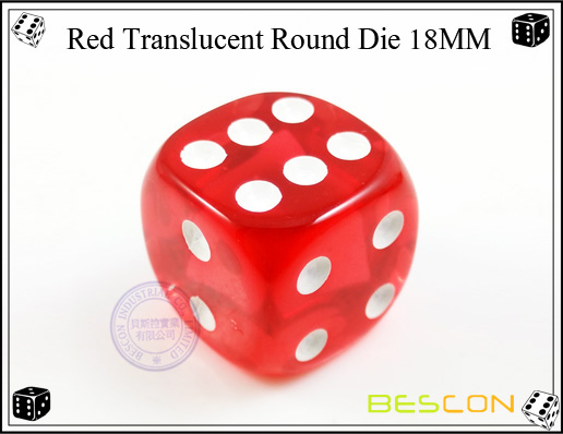 Red Translucent Round Die 18MM