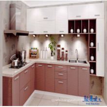 Pole L Shaped Fashion PVC Painting Kitchen Cabinet