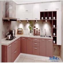 Pole L em forma de gabinete de cozinha de pintura em forma de PVC