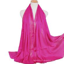2017 новое прибытие осень зима леди хлопок простой полосатый блеск мусульманский хиджаб шарфы, шали с кистями и золотой проволокой