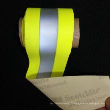 Haute lumière fluorescent coloré réfléchissant élastique tissage vêtements ruban élastique