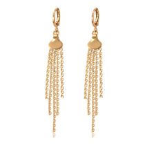 97259 xuping good quality 18k gold color fashion custom ladies chain drop earrings
