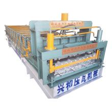 Máquina formadora de rollos de doble capa corrugada teja