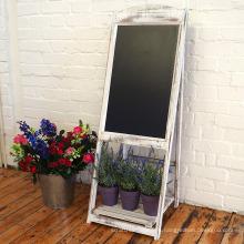 Vintage Rustic Style Compatible Markers Chalkboard Sandwich Board White with flower shelf
