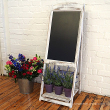 Vintage Rustic Style Compatible Markers Chalkboard Sandwich Board White with flower shelf