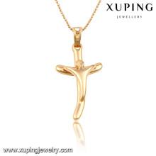 32704 Xuping charme da moda presentes de natal banhado a ouro pingente de cruz