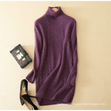 Winter dress pure cashmere knitting turtleneck long sleeve thickening sweater dress
