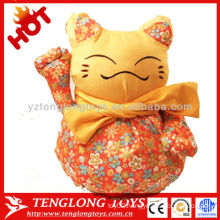 Fashionable Printed Fabric Lucky Cat Plush Toy