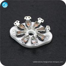 white industrial parts steatite ceramic vacuum tube socket ceramic insulators 8 pins