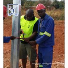 Proyecto en Zambia, poste octogonal galvanizado de 10 m