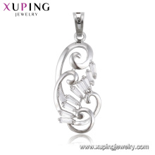 33288 luxury women jewelry sterling silver color buckle curved chandelier shape pendant