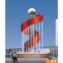 2016 New Modern Statue Park Sculpture en acier inoxydable / fontaine d'eau en métal
