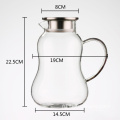 Borosilicate glass iced tea pitcher with lid