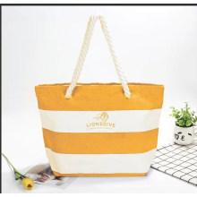 Stripe Printed One-Shoulder Beach Bag Student Fashion Canvas Large Capacity Beach Bag