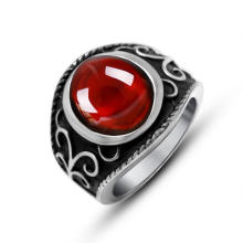 Red Garnet Stainless Jewellery Men′s Ring Titanium Steel