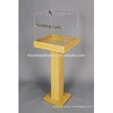 Marketing-Befestigung Holz Acryl Großer Boden Standing Angebot Verkauf Box Custom Merchandising Display Box