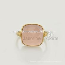 Anéis de pedras preciosas de prata ao atacado, anel de calcedônia rosa, jóias de prata esterlina 925