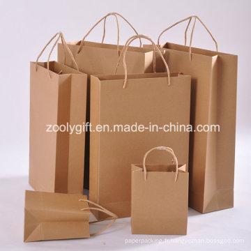Vente en gros de sacs en papier Kraft à recyclage à bas prix avec poignée torsadée