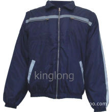 Navy Blue Winter Coat with Reflective Tape