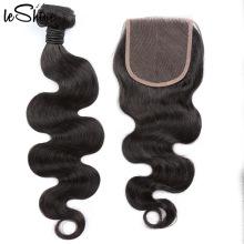 Mink Body Swiss Lace Closure Pre-Plucked Silk Base Match Brazilian Easy Wear Long Lasting Human Hair Bundles