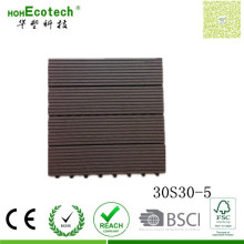Four Slate Wood Grain Decking DIY Easy Assemble WPC Free Interlocked Tiles 300*300mm